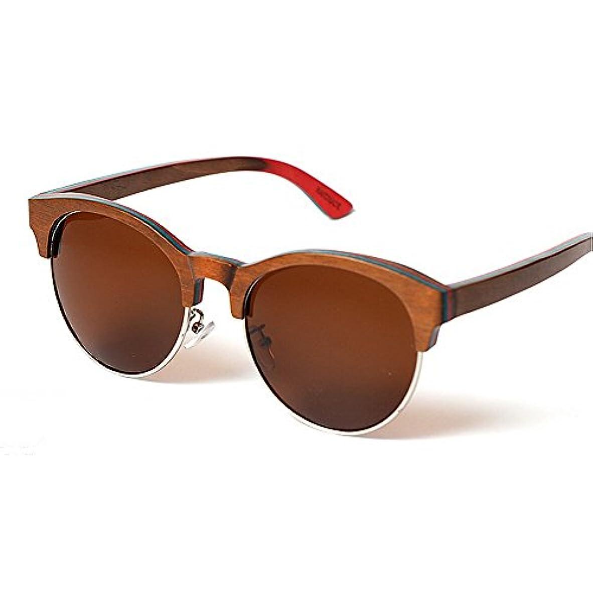 桃些細バイアスサングラス UVカット 偏光レンズホルダー 男性と女性のためのサングラス BM-32 (Brown)