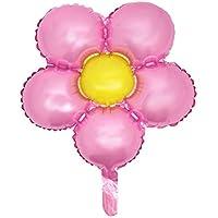 uxcell バルーン ホイル 花の形 風船 結婚式 パーティー お祝いの装飾 ダーク ピンク イェロー 45.7cm
