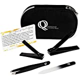 40% OFF SALE!! Nail Clipper Set by Queensland Quintessentials - Great Gift / Present! Fingernail and Toenail Clippers, Tweezers & Crystal Nail File Kit in Travel Case – Sharp, Sturdy and suitable for Men, Women, Elderly & Babies – Suits Thick / Ingrown Nails – Black / Silver with Easy Grip