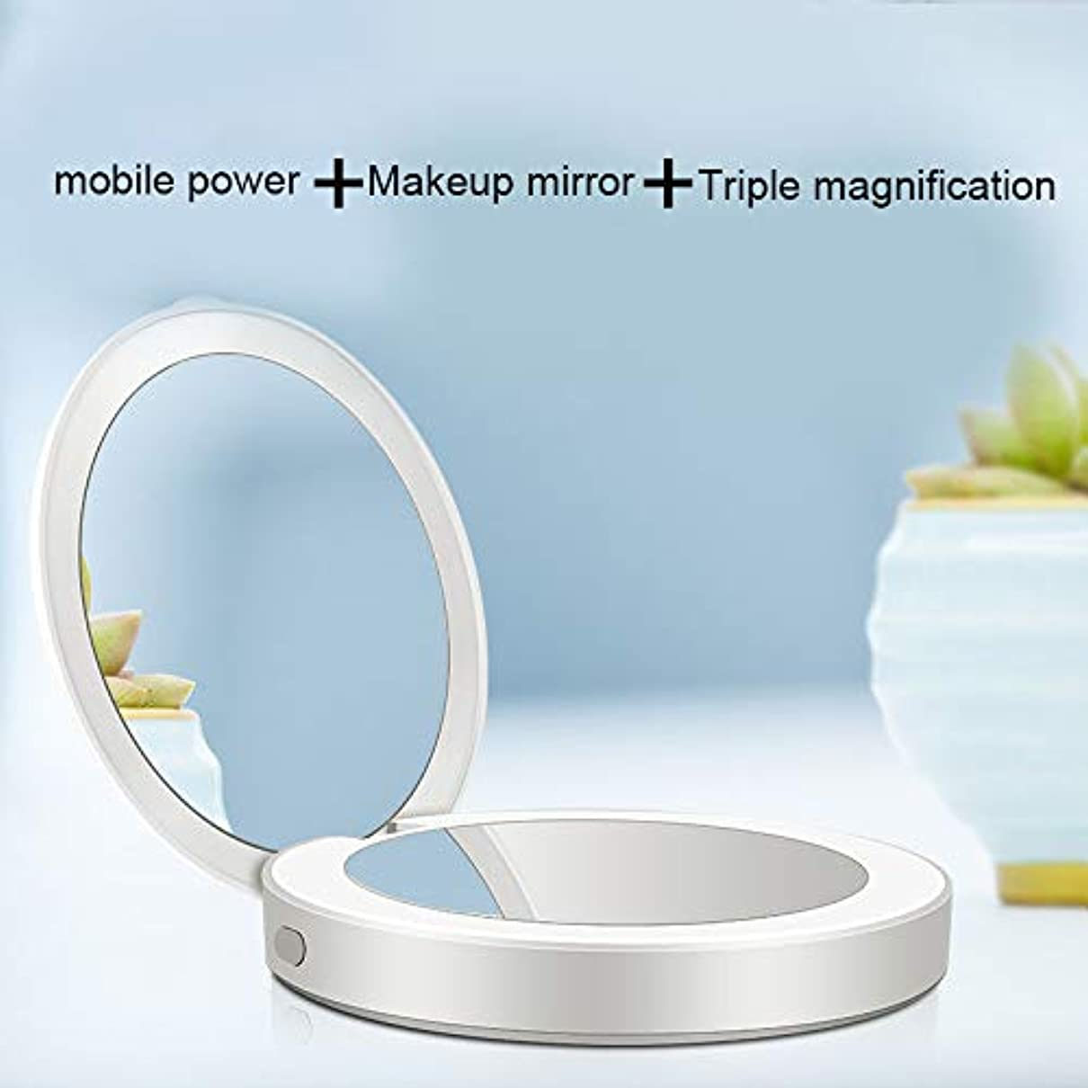 億メイン姿勢Tenflyer LED付き旅行化粧鏡5倍/ 1倍拡大鏡USB充電式ミニミラー