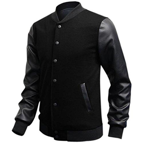 (ミネサム)Minesam メンズ ジャケット カジュアル クール 全3色 スタジャン 長袖 コート 春、秋、冬に適応 男性愛着 カッコイイ ジャケット ブラック XL