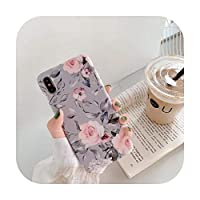 大理石の花電話ケースサムスンA40 A50 A70 S10 lite S8 S9注10ケースカバーiPhone 11 Pro XR XS Max 7 8 6 6S Plus-Flowers Gray-6Plus 6sPlus