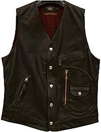 (ダブルアールエル) RRL イタリアンレザー ベスト ブラック メンズ Leather Vest Black 並行輸入品 [並行輸入品]