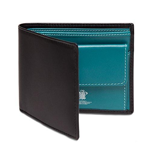 ETTINGER / エッティンガー レザー・ビルフォールド ウォレット 二つ折り財布 小銭入れ付き - ブラック/ターコイズ(内側)