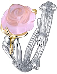 Jewever 925 Sterling Silver Pink Rose Ring Hibiscus Stone Adjustable Ring for Lover for Women Gift