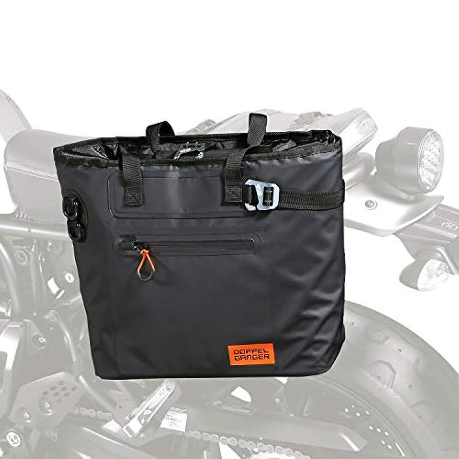 タンザニアアクチュエータキャンドルDOPPELGANGER(ドッペルギャンガー)ターポリンシングルサイドトートバッグ【バイク用サイドバッグ】防水ターポリン仕様 普段遣いできる容量、簡単着脱フック、二人乗りOK、スタイル重視トートバッグ型 DBT510-BK ブラック W42 ×L(D)18× H32cm(バッグ本体)