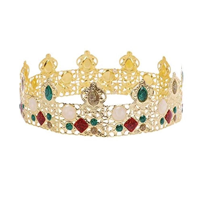 バーター放送医療過誤LURROSE 党誕生日のための王の王の金の王冠のラインストーンメンズティアラ