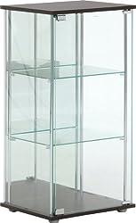不二貿易 ガラスコレクションケース 3段 幅42.5cm 背面ミラー付き 96048