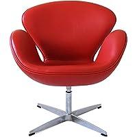 スワンチェア/レザー仕様(牛皮)/アルネヤコブセン作/レッド 赤  椅子 イス いす