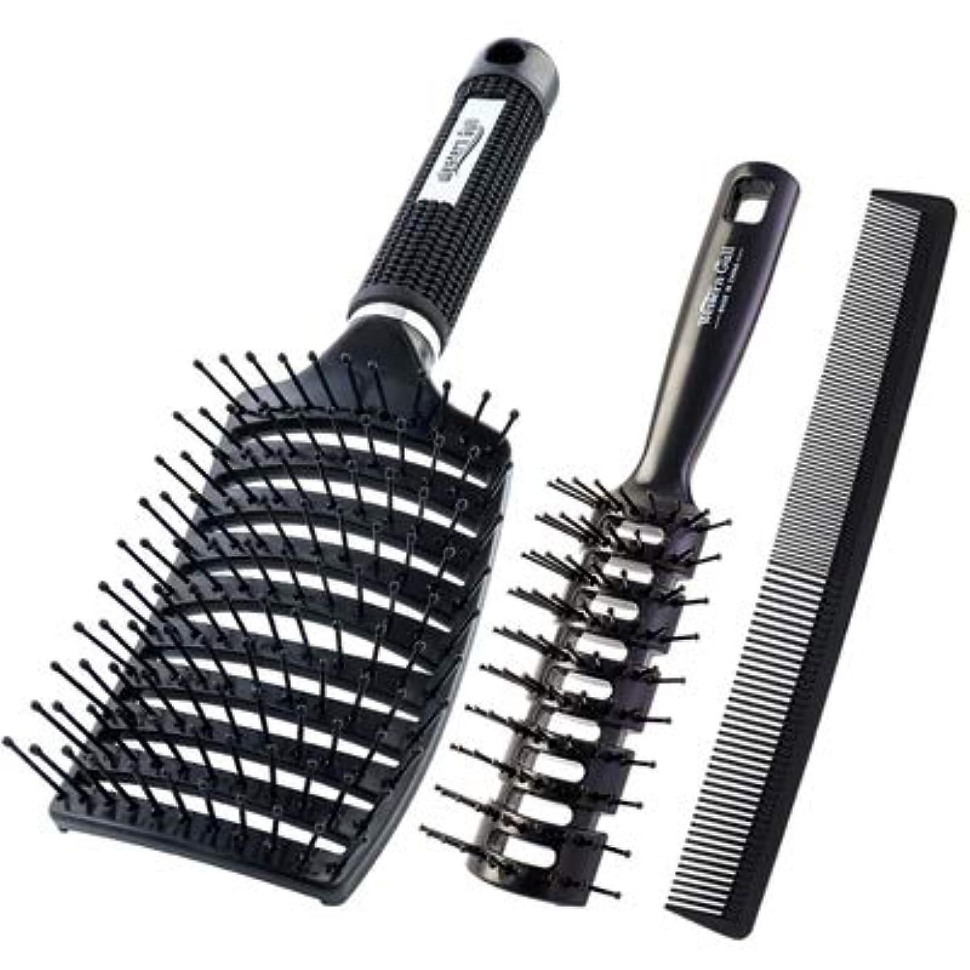 定期的な添加チャンピオンシップ男性専用のスペアリブのくしで髪をブローします。フワフワとしたヘアスタイルです。