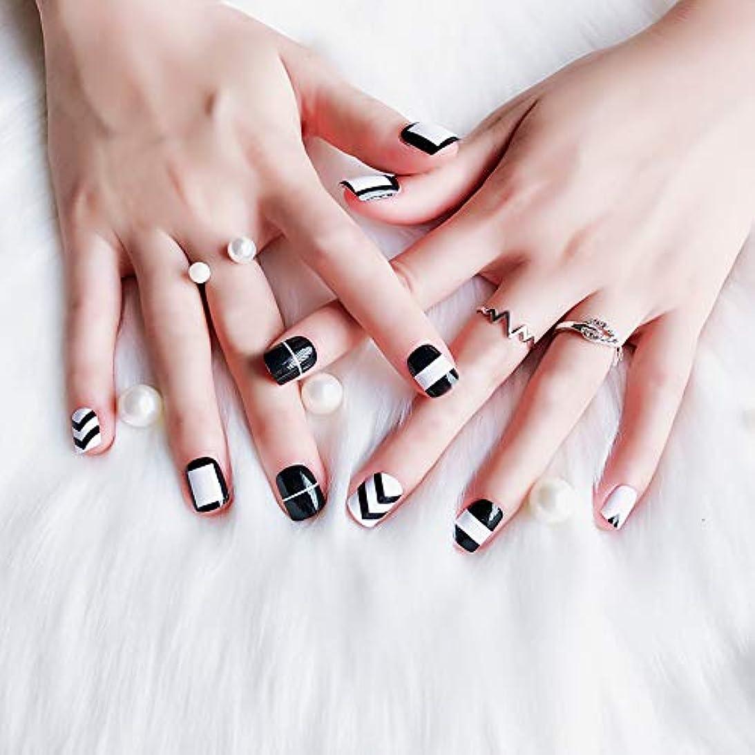 とげのある開発臭いトレンド黒と白の偽の爪 24枚入 短いさネイルチップ ネイルチップの完成品 可愛い優雅ネイル ネイル花嫁 つけ爪 (B01)