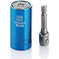 Zanmax ユニバーサルソケット 2点セット 7~19mm対応 万能ソケット ソケットレンチ 1/4~3/4インチ 54本スチールのピン内蔵 ドリルアダプター付き ブルー