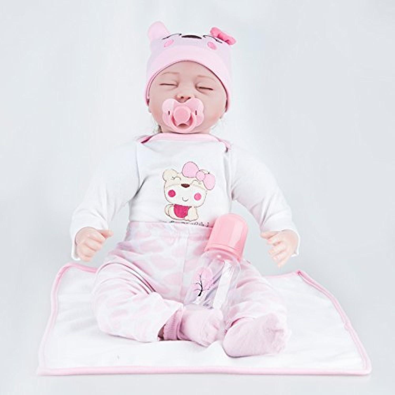 22インチリボーンベビードール現実的な手作り新生児のシリコーンベビードールライフリアルソフトシミュレーション目が閉じた女の子好きなギフト
