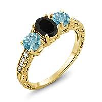 Gem Stone King 2.52カラット 天然 オニキス 天然石 ブルージルコン シルバー925 イエローゴールドコーティング 指輪 リング
