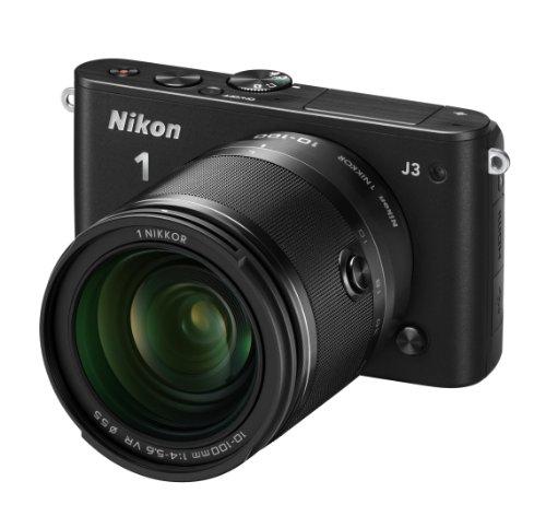 Nikon ミラーレス一眼 Nikon 1 J3 小型10倍ズームキット1 NIKKOR VR 10-100mm f/4-5.6付属 ブラック N1J310ZKBK