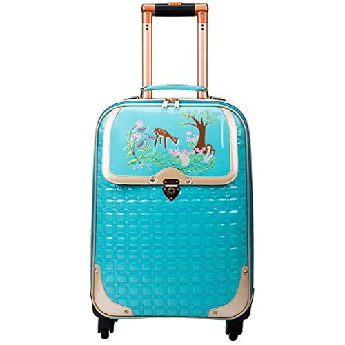 Femoooboro 学生用レザーキャリーケース、スーツケース - イエロー/ピンク/ブルー - ブルー - S