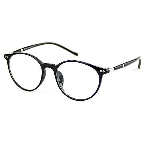 Cyxus(シクサズ)軽量TR90青色光をカット[透明レンズ] 輻射防止眼鏡 パソコン PC用メガネ 男女兼用 黒い復古フレーム