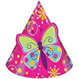 Creative Converting Butterfly Sparkle Birthday Party Hats, 16-Count