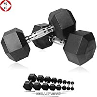 HCE Hex Dumbbells Set - Pair of 1Kg-50Kg Rubber Coated Black Hex Dumbbell Weights - Chrome Textured Non-Slip & Easy-Grip...