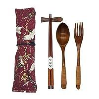 日本天然木製テーブルウェア5点セット (スプーン1個、箸1個、フォーク1個、箸ホルダー1個、食器バッグ1個)。