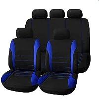 車 シート カバー カーシートカバーボルボV50フォードフィエスタ大宇ネクシアシートレオンFrラダカリーナカースタイリングオートアクセサリー (Blue Black,9 sets)
