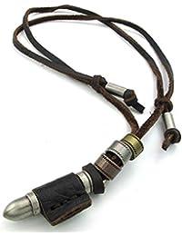 [テメゴ ジュエリー]TEMEGO Jewelry メンズ合金レザーロープコードネックレス、ヴィンテージゴシック弾丸ペンダントネックレス、ブラウンシルバー [インポート]