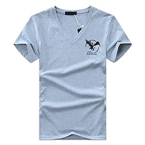 【Smile LaLa】 メンズ レディース ユニセックス Tシャツ トップス イーグル シンプル カジュアル ミリタリー 半袖 Vネック ロゴ (グレー, 3XL)