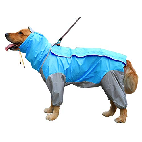 MINORIN 犬用レインコート カッパ 雨具 防水ジャケット 通気 帽子付 散歩用 中型犬 大型犬 着脱簡単 汚れ防...