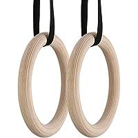 utheing新しい体操リング、トレーニングWorkouts木製体操リングwithカムバックルストラップ