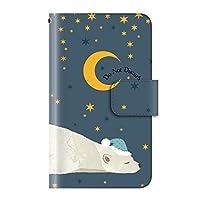 PLUS-S Galaxy Feel2 SC-02L ケース 手帳型 アニマル 動物 癒し系【04.星空シロクマ】 カード収納 ストラップホール 全面保護 マグネット