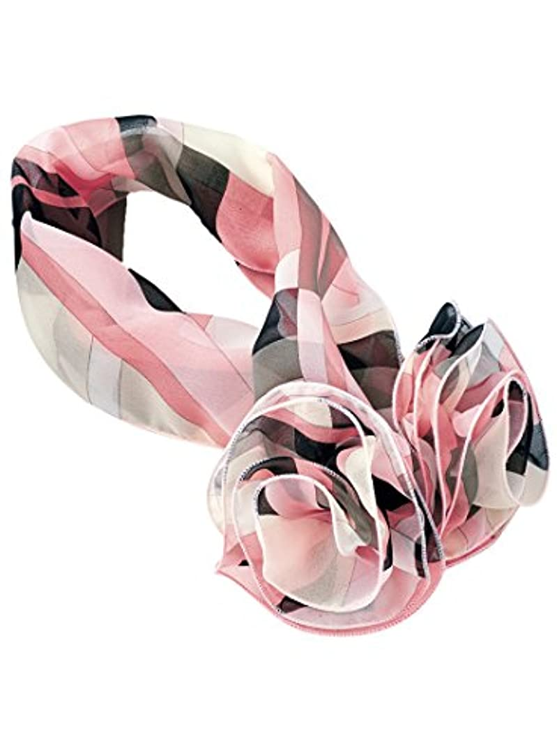 断片意外チューリップお花モチーフの幾何学柄スカーフ OP127 5(ピンク) F