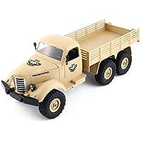 JJR / C Q60 1/16 2.4G 6WD RCオフロード軍用トラックトランスポータ子供のためのRCカーリモートコントロール車ギフト子供玩具(色:黄色)