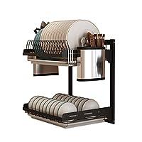 キッチンラック、ナイフホルダー、箸ケージ、3フック - 2層/ 3層と黒201ステンレス鋼壁マウントドレインラックディッシュラック。 (Size : 2 layers)