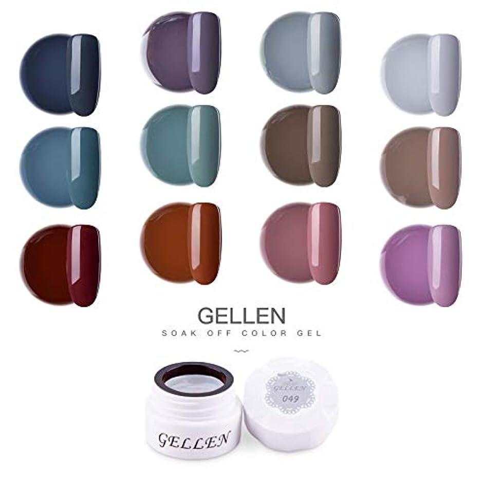 休日無意識の間でGellen カラージェル 12色 セット[クラッシク シリーズ]高品質 5g ジェルネイル カラー ネイルブラシ付き