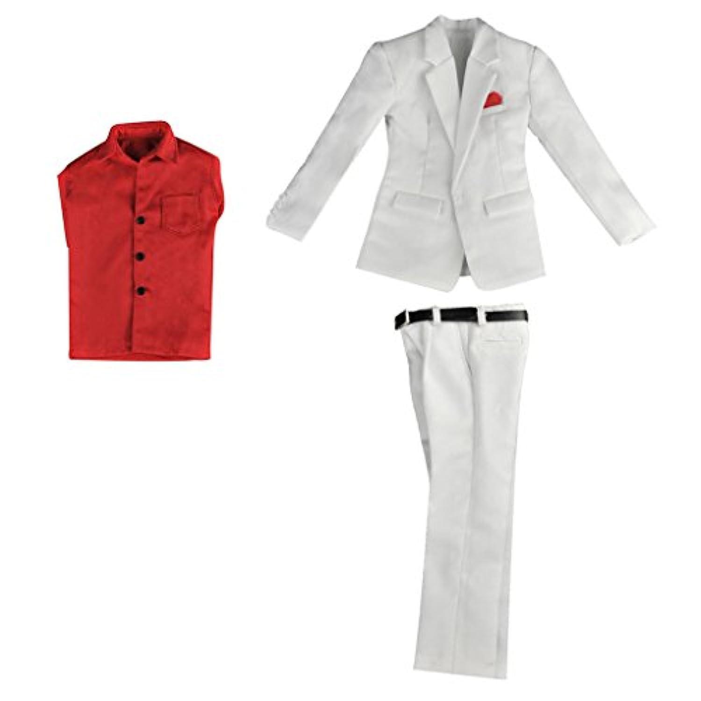 【ノーブランド 品】赤い 長袖 シャツ パンツ スーツ 1/6 服 アクション フィギュア