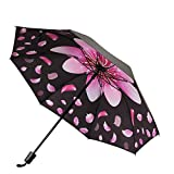 MISAKU 折りたたみ傘 花柄 日傘 晴雨兼用 遮光 遮熱 UVカット率99.9% 高強度グラスファイバー8本骨 耐風撥水 レディース 旅行 アウトドア用 収納ポーチ付 (花柄ーブラック)