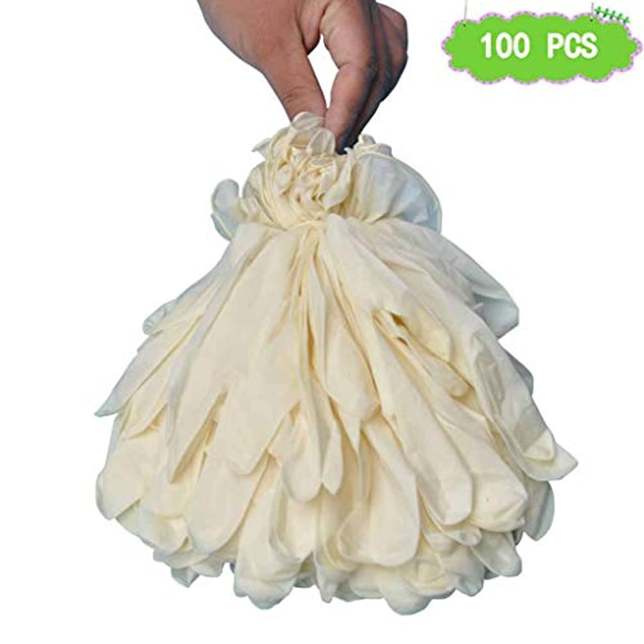 女の子タイヤ第二に白いラテックス手袋使い捨てゴム手袋食品使い捨て手袋ペットケアネイルアート検査保護実験、美容院ラテックスフリー、、 100個 (Size : M)