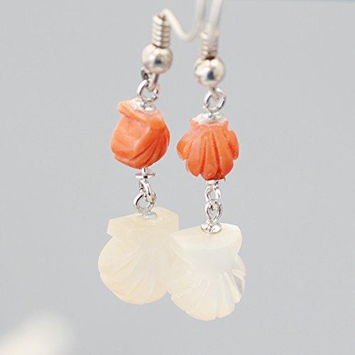 【ヴィーナスの誕生】 白蝶貝 & 桃色珊瑚 貝モチーフ フック ピアス SV925