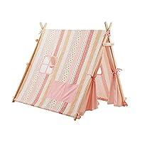赤ちゃん妖精の城、ピンクの木製のテントガールプリンセスルームゲームルーム花柄装飾テント屋内ベッドルーム玩具ハウス (Size : 130*120*125CM)