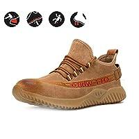 ZYFXZ 男性の女性のためのスチールトゥキャップ安全作業靴、軽量ピッグスキン穿刺証明トレーナー、耐摩耗性の牛肉腱ボトム安全保護カジュアル作業靴 安全靴 (Size : 39)