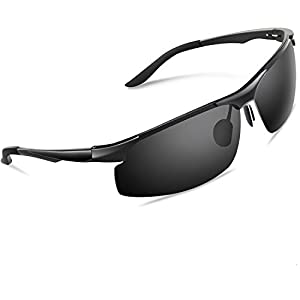 Torege 偏光レンズ スポーツサングラス 超軽量 アルミニウム・マグネシウム合金 UV400 紫外線カット スポーツサングラス/ 自転車/釣り/野球/テニス/スキー/ランニング/ゴルフ/ドライブ M291 (ブラック)