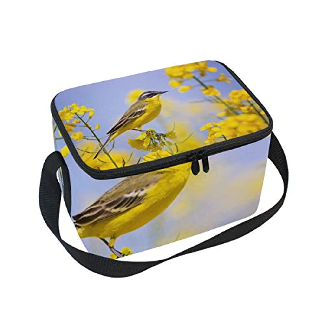 小さな美徳ほんのクーラーバッグ クーラーボックス ソフトクーラ 冷蔵ボックス キャンプ用品 花と鳥柄 黄色 保冷保温 大容量 肩掛け お花見 アウトドア
