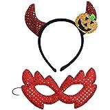 BESTOYARD ハロウィーン悪魔ホーンヘッドバンドとアイマスク子供コスプレホーンヘッドギアドレスアップパーティー衣装(2セット)