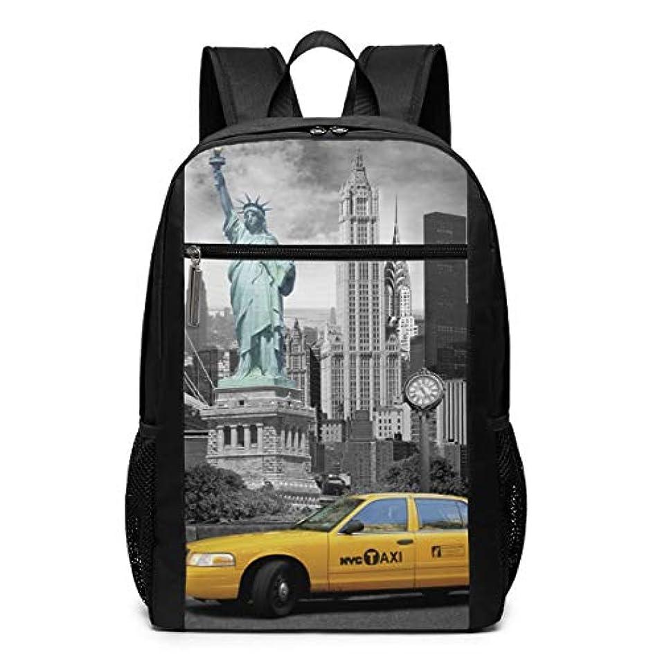 教義すり減る牛My Life リュックサック ニューヨーク 黄色い タクシー 町並み 自由の女神 メンズ バックパック リ ュック デイパック 大 おしゃれ 出張/旅行/通勤/アウトドアに適用 大容量 多機能 人気 学生 高校生 (17インチ)