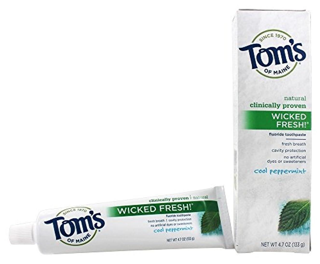 なしでリズム褐色Tom's of Maine ナチュラル邪悪な新鮮なフッ化物の歯磨き粉クールペパーミント4.70オズ