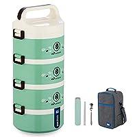 保温弁当箱 ランチボックス 保温食箱桶 ランチジャー 食事箱 お弁当袋付き 食器付き 学校 ピクニックキャンプ (Color : Green, Size : 4 layer)