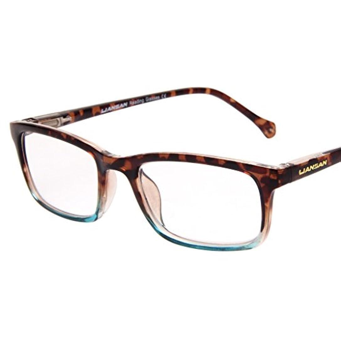 (レンサン) LianSan老眼鏡 ユニセックス レディース メンズ スクエア クラシック風 バネ蝶番 リーディンググラス シニアグラス ケース付き L3708 ベッコウ +1.75