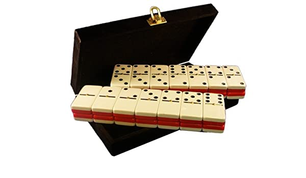 Marion Domino Double Six Red /& White Two Tone Tile Jumbo Tournament Size w//Spinners in Deluxe Velvet Case Marion /& Co 1093
