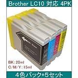 【ブラザー工業(BROTHER)対応】LC10 互換インクカートリッジ4色セット ブラック(20ml)/シアン/マゼンタ/イエロー(各15ml) 【5セット】 AV デジモノ パソコン 周辺機器 インク インクカートリッジ トナー インク カートリッジ ブラザー(BROTHER)用 top1-ds-374687-ak [簡易パッケージ品]