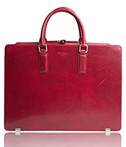 Dom Teporna Italy ビジネスバッグ イタリアンレザーを全面に使用 カバン A4書類 13インチPC 本革 ブリーフケース レッド
